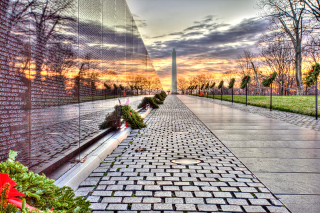 Vietnam memorial, sunrise, washington dc, wreaths, christmas, landscape, hdr, travel