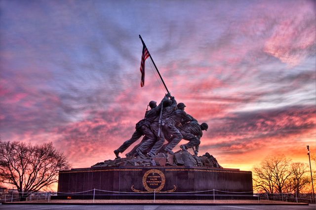 iwo jima, sunrise, landscape, hdr, washington dc, angela b. pan, abpan, color,