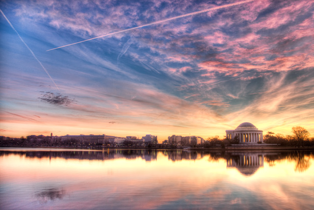 thomas jefferson, jefferson memorial, tidal basin, washington dc, travel, landscape, sunrise, hdr, angela b. pan, abpan, photo, photography