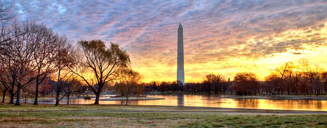 monument, cloudy sunrise, washington dc, hdr, landscape, angela b. pan, abpan, constituion,