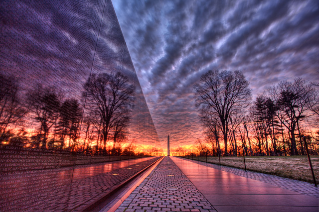 """Vietnam Memorial Cloudy Sunrise"" - An HDR photo of the Vietnam Memorial in Washington DC taken at sunrise on a cloudy morning by Angela B. Pan."