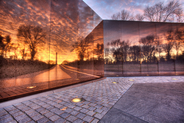 vietnam memorial, reflection, washington monument, washington dc, landscape, hdr, travel, sunrise