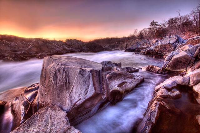 great falls, virginia, landscape, sunrise, hdr, angela b. pan, abpan, photography, photo, park, rock,