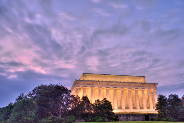 lincoln building, washington dc, sunrise, memorial, mall, landscape, angela b. pan, abpan, hdr, photography, photo