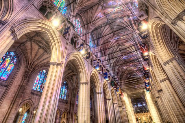 National cathedral, washington dc, lights, sun, netting, earthquake, angela b. pan, abpan, hdr, travel, photography, photo