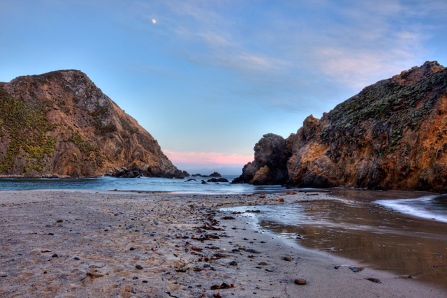 pfieffer beach, california, big sur, landscape, sunset, angela b. pan, abpan, hdr, photography, photo, travel, cliffs, moon, beach