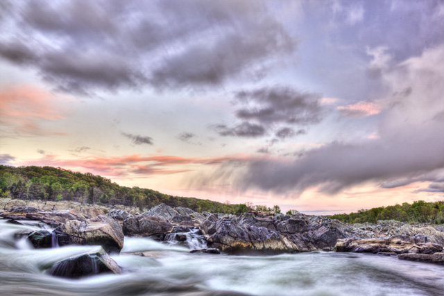 great falls, sunset, clouds, landscape, virginia, va, travel, scenic, park, rain, angela b. pan, abpan, photo, photography, hdr