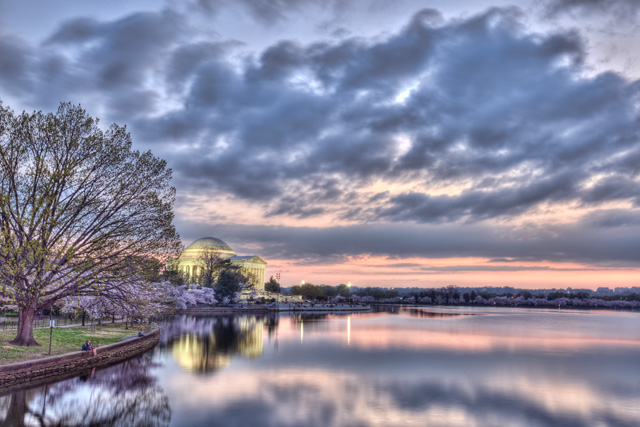 jefferson, memorial, sunset, clouds, landscape, hdr, photography, photo, travel, tidal basin, cherry blossoms, angela b. pan, abpan
