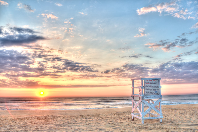 Life Guard Stand Virginia Beach Sunrise Landscape Hdr Photography Photo