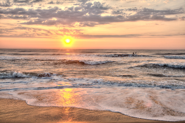 beach, virginia beach, surfers, sunrise, water, ocean, waves, hdr, photography, photo, landscape, angela b. pan, abpan