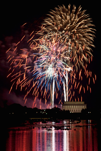 fireworks, independence day, july 4th, monuments, lincoln, dc, hdr, photography, photo, travel, angela b. pan, abpan