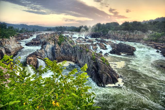 great falls, overlook, virginia, sunrise, landscape, hdr, angela b. pan, abpan, photo, photography, tranquil, park