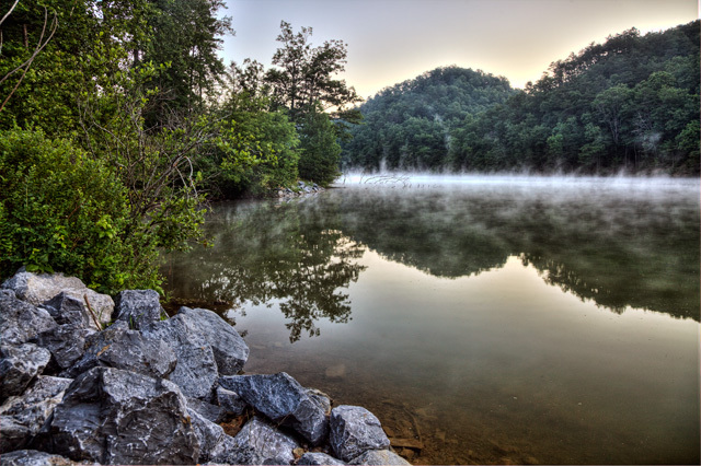 hungry mother, state park, virginia, landscape, foggy, angela b. pan, abpan, va, rocks, sunrise