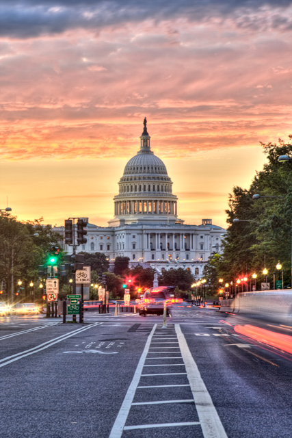 pennsylvania, avenue, washington, dc, sunrise, hdr, landscape, capitol, angela b. pan, abpan, photo, photography, long exposure