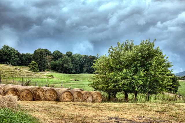 hayrolls, delaplane, va, angela b. pan, abpan, hdr, landscape, clouds, storm, photo, photography