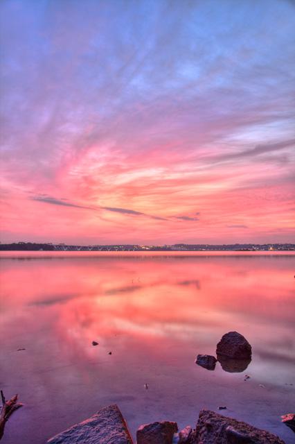 sunrise, alexandria, va, rock, reflection, landscape, hdr, photography, photo