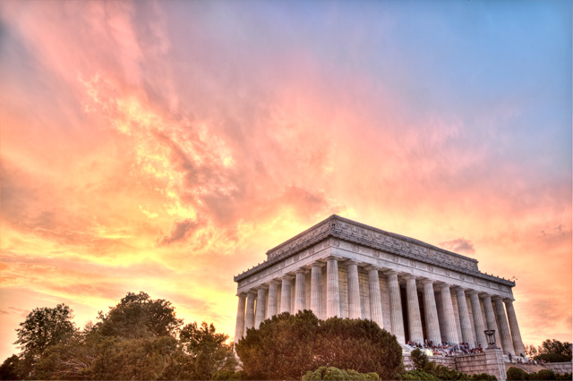 lincoln memorial, sunset, abpan, angela b. pan, hdr, landscape, travel