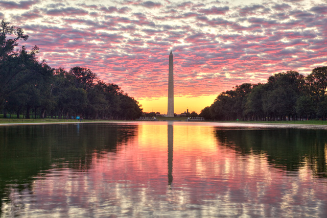 reflecting pool, washington dc, lincoln, sunrise, reopen, construction, angela b. pan, abpan, hdr, landscape, washington,