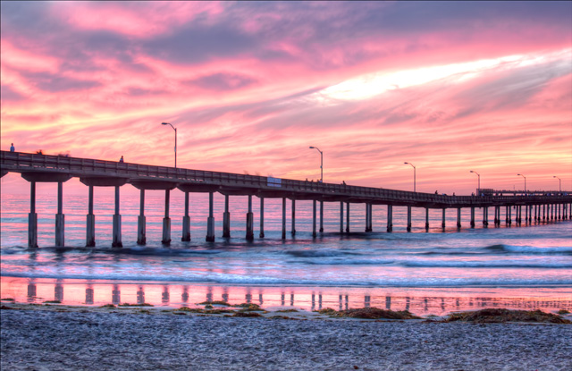 ocean beach, california, ca, cali, hdr, photography, photo, travel, sunset, surfers, boardwalk, bridge,
