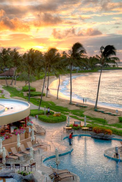 sheraton, kauai, hotel, hawaii, sunrise, pool, lava lounge, angela b. pan, abpan, photo, photography, hdr, travel, beach,