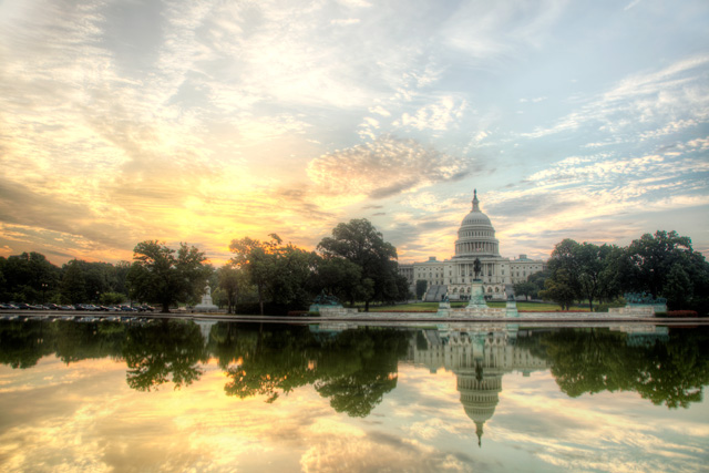 The US Capitol at sunrise in Washington DC