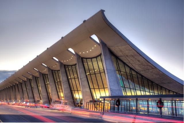 dulles airport at sunrise in Virginia