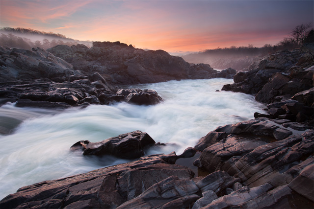 Great Falls Park in Virginia at sunrise
