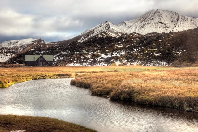 iceland, cottage, stream, mountains, south, landmannalaugar, goethermal pool, angela b. pan, abpan, hdr, photo, photography, travel