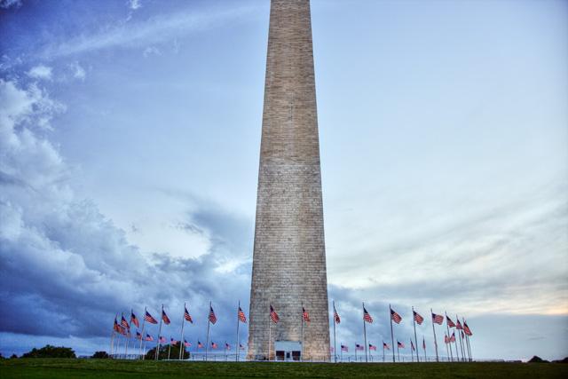 The Washington Monument at sunset after rain