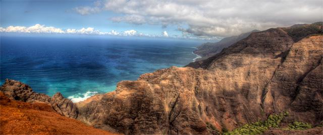 Panoramic HDR photo of the Napali Coast in Kauai, Hawaii. Shot by Angela B. Pan at Lolo Vista Point after hiking the Nualolo Trail