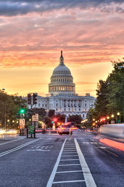 Sunrise on Pennsylvania Ave in Washington DC