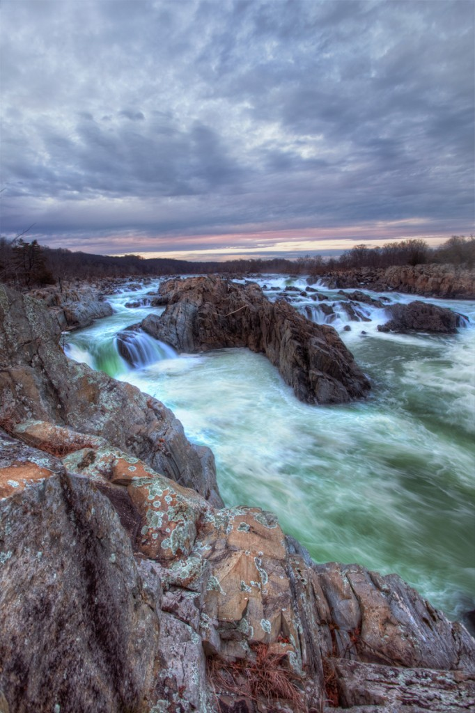 Great Falls Park in Virginia at sunset