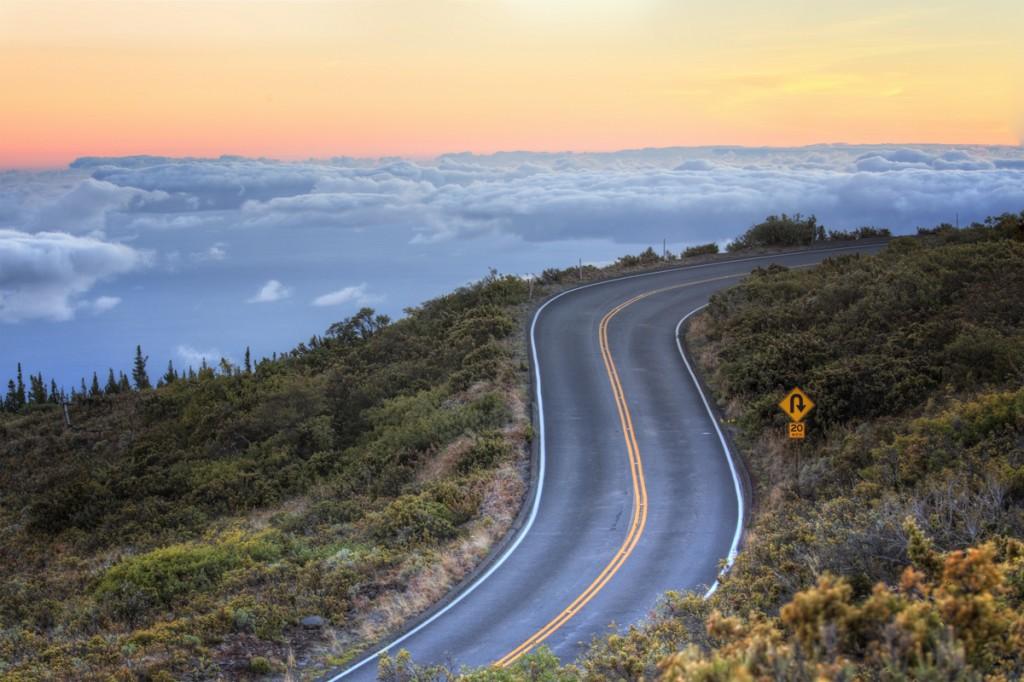 The road leading to Haleakala Volcano in Maui, Hawaii