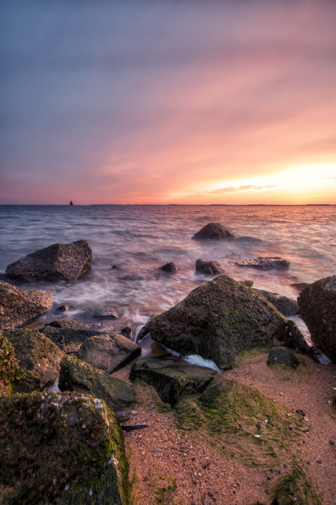 This is an HDR image of Sandy Point State Park at sunrise