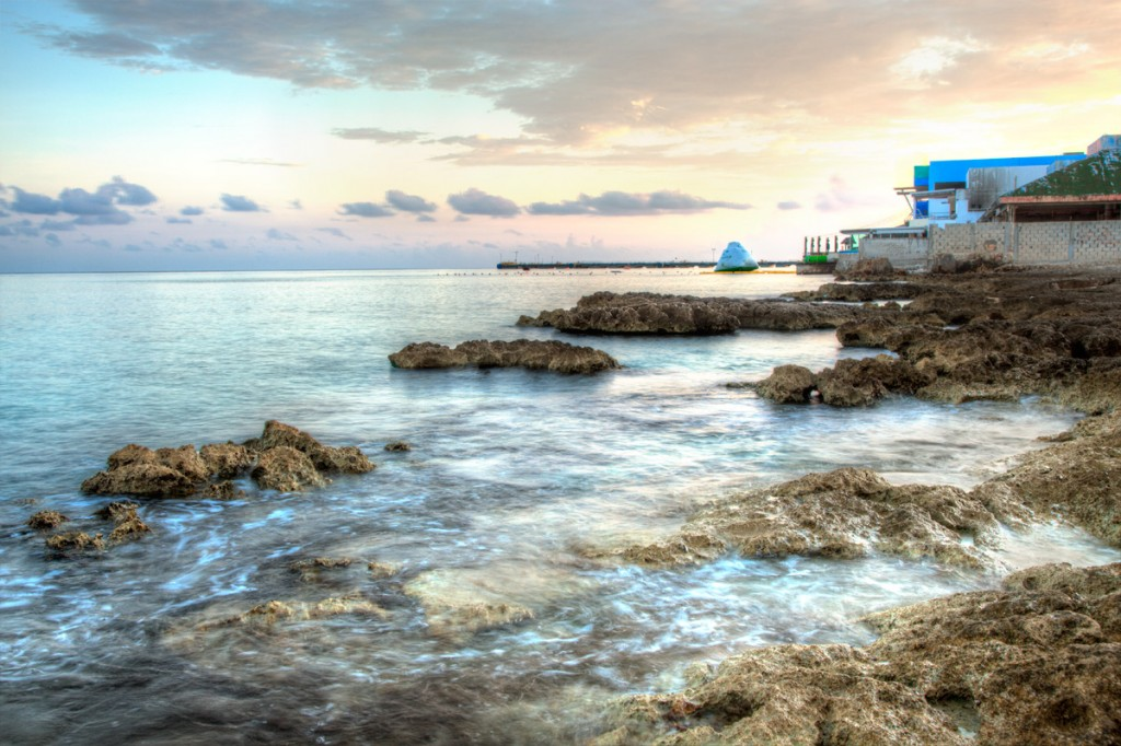 an hdr image of a sunrise in cozumel, Mexico