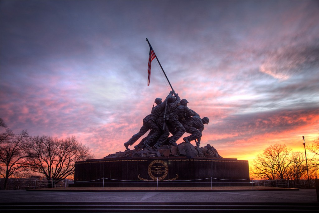 Marine Corps War Memorial, Virginia, Sunrise