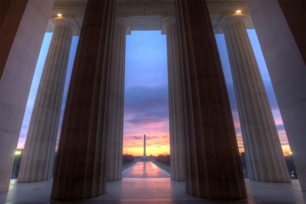 lincoln memorial, sunrise, washington dc