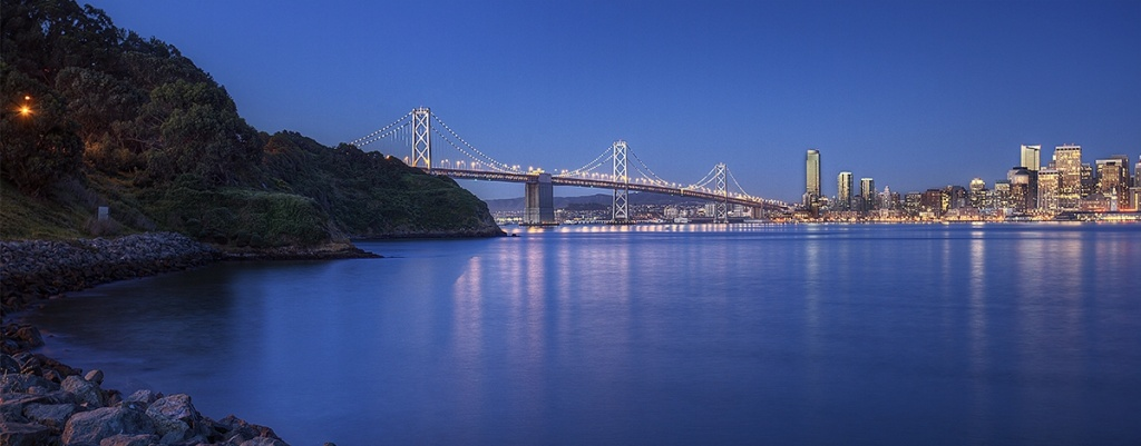 bay bridge, san francisco, california, dawn