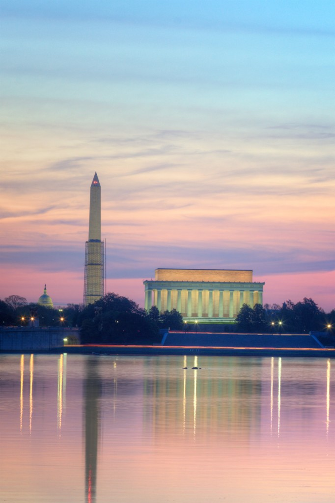 washington monument, lincoln memorial, capitol, sunrise, washington-dc