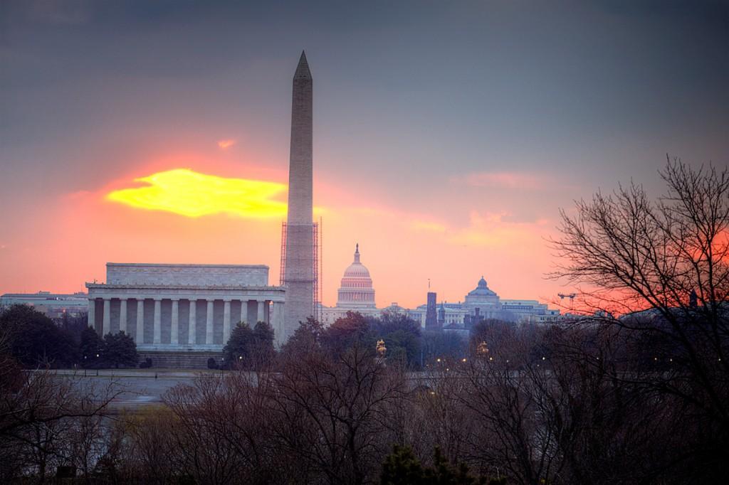 washington monuments, sunrise, lincoln, monument, capitol