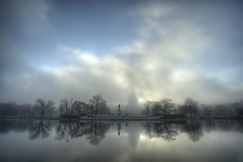 capitol, fog, sunrise