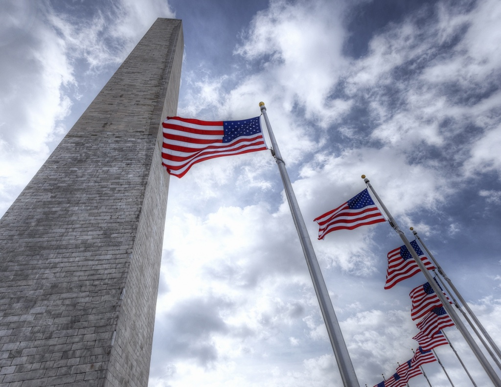 monument, looking up, american flags