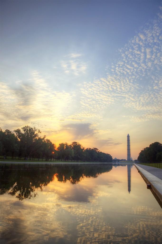 washington monument, reflecting pool, sunrise, washington dc