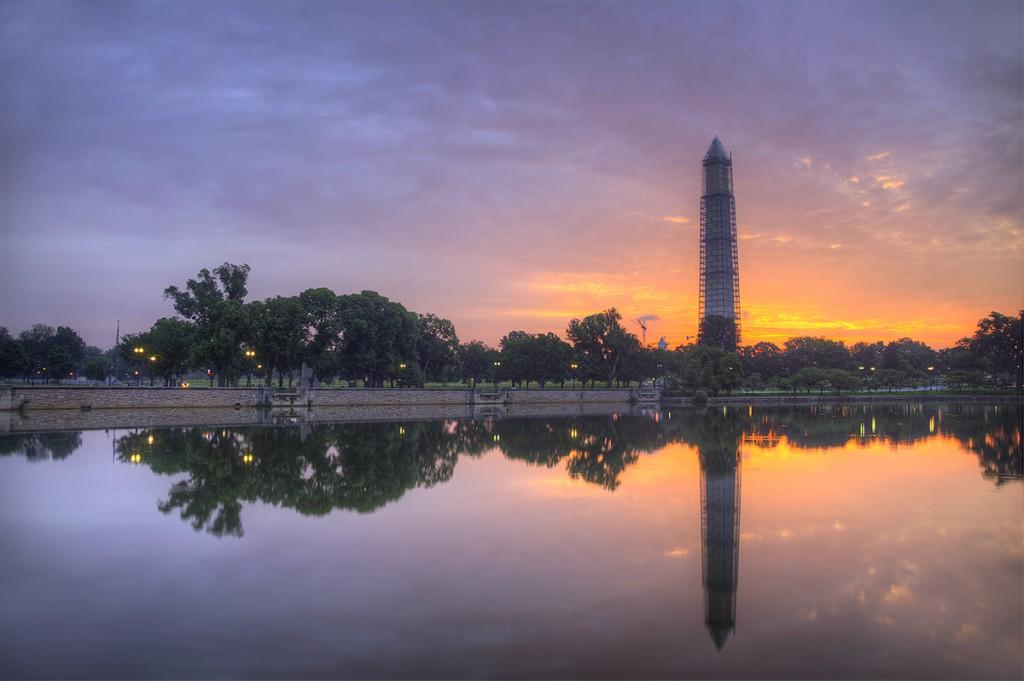 washington monument, washington dc, reflection, sunrise