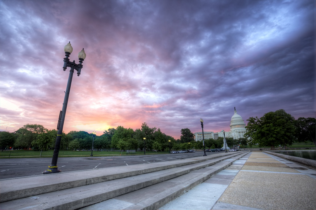 washington dc, sunrise, capitol, parking lot, early morning, clouds, prints, poster, licensing
