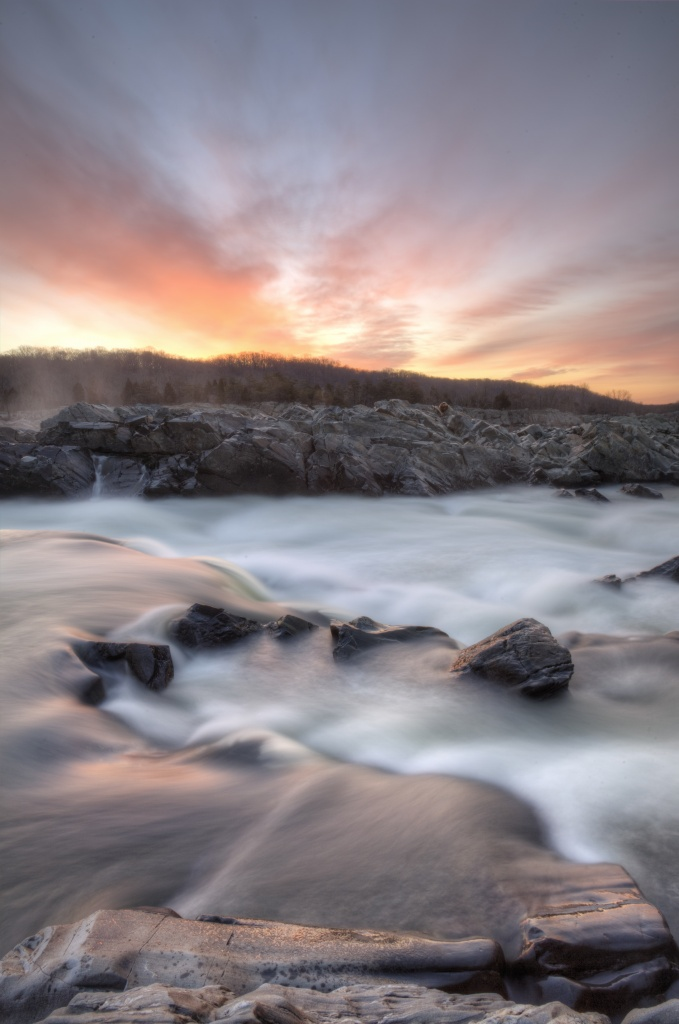 great falls park, va, sunrise, rocks, prints, posters, licensing,