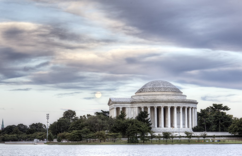 jefferson memorial, harvest moon, sunset, washington dc
