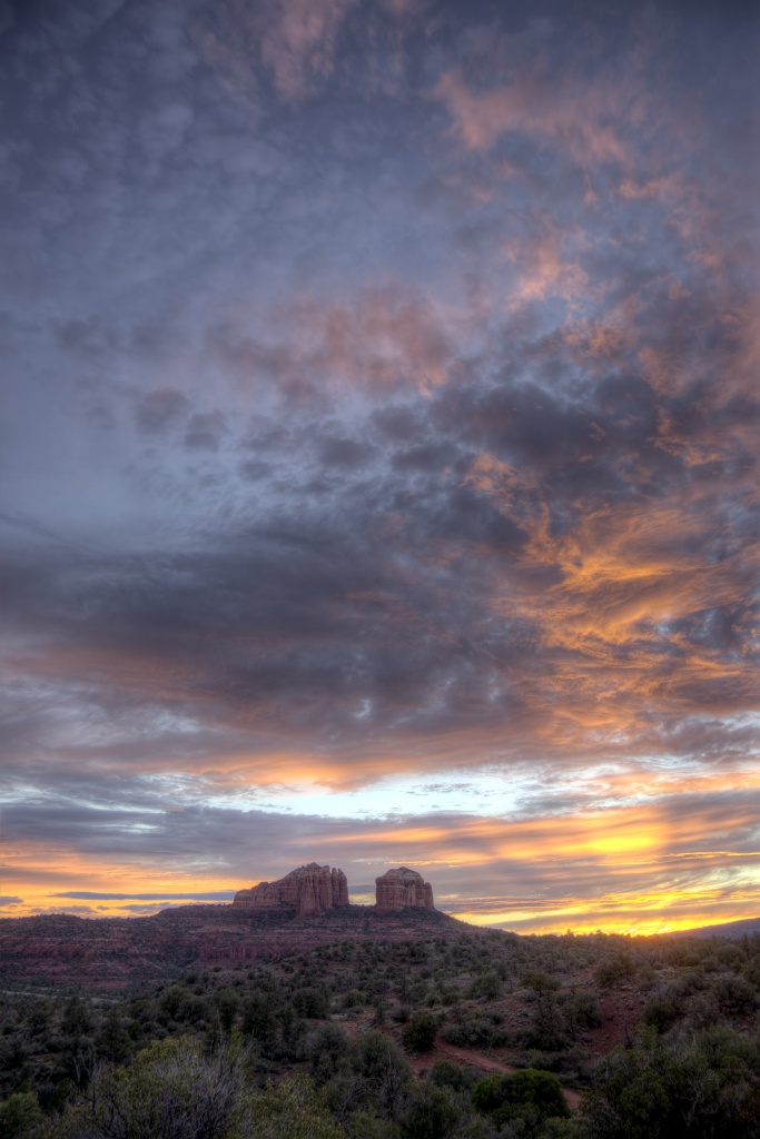 cathedral rock, sunset, arizona, sedona, clouds, sky, red rock, hdr, poster, print, travel, united states, america, usa