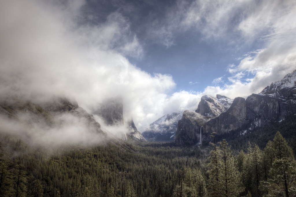 valley view, yosemite, national park, california, northern, three brothers, hdr, water fall, fog, clouds, united states, usa, america, morning, cali