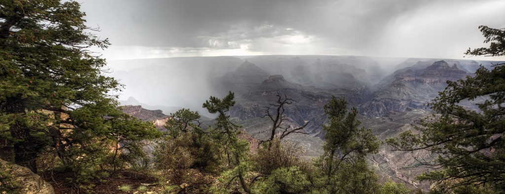 grand canyon, arizona, rain, cloudy, pano, panoramic, hdr, trees